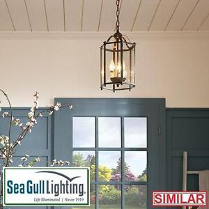 NEW SGL 2 LIGHT FOYER PENDANT SEA GULL LIGHTING - BRUSHED NICKEL HANGING CEILING LIGHTS DECOR PENDANTS 107233106