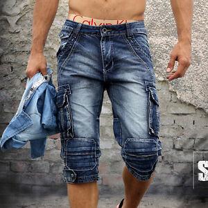 New Fashion Mens Size Blue Denim Pocket Walk Shorts