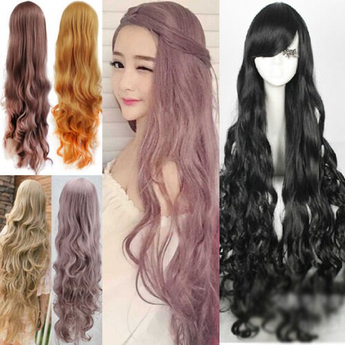 Super Long 100CM Full Wigs Cosplay Costume Halloween Hair Anime Wavy Straight