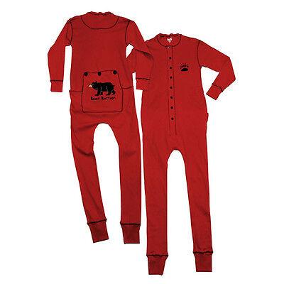 Lazy One Bear Bottom Red Kids Boys & Girls Flapjacks Pajamas Long Johns