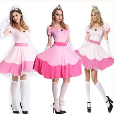 Princess Peach Mario Halloween Costume Sexy Adult Womens Fancy Pink - Peach Halloween