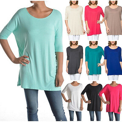 NEW Women Boat Neck Long Tunic Top Short Sleeve T-Shirt Piko Style PLUS S~L (Women Styles)