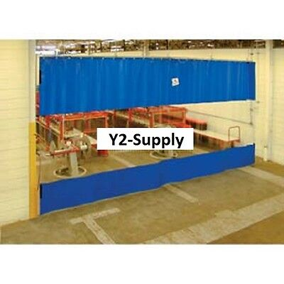 New Blue Curtain Wall Partition With Clear Vision Strip 6 X 8