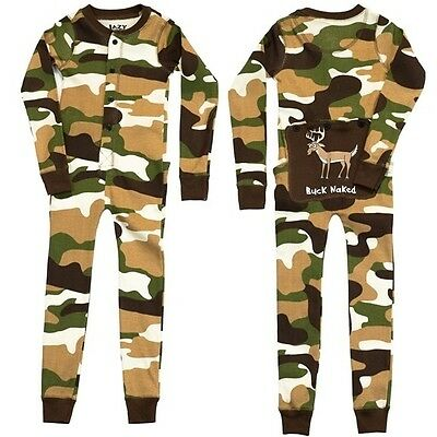 Lazy One Buck Naked Deer Camo Adult Flapjacks Pajamas Long Johns