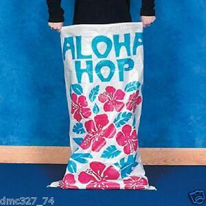 6 LUAU Party Aloha HIBISCUS POTATO SACK Bag RACE GAME