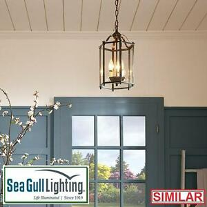 NEW SGL 2 LIGHT FOYER PENDANT - 107233106 - SEA GULL LIGHTING - BRUSHED NICKEL HANGING CEILING LIGHTS DECOR PENDANTS