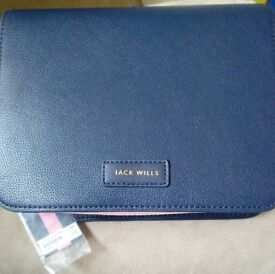 Jack wills portloe mini pouch bag pink navy bnwt