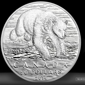 Pièce de collection coin. Ours Polaire Bear 50$ RCM Silver