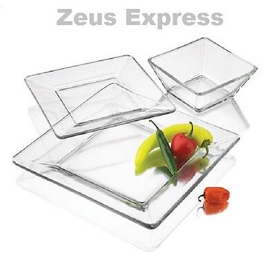 Clear Square Dinnerware Set 12-24-36 Piece Service 4-8-12  Dishes Plates Bowls (Clear Square Plates)