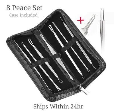 ❤️8 Pcs Blackhead Pimple Blemish Acne Extractor Remover Tool Kit Curved Tweezers