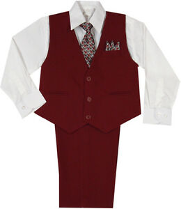 New-Baby-Toddler-Boy-Wedding-Easter-Formal-Vest-Suit-Burgundy-sz-New-Born-4T