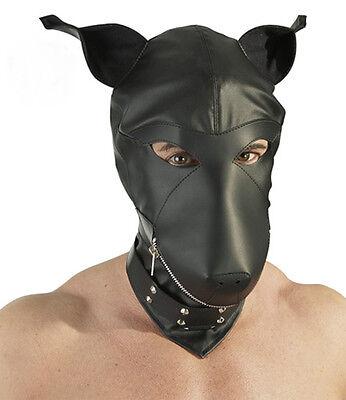 Hund Maske Dog Mask Hood Kopfmaske Leder-Imitat NEU (Maske Hund)