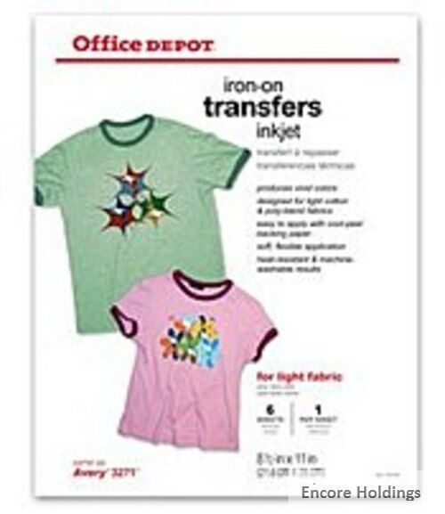 Office Depot Brand Light Fabric O004-516-0902 8.5 x 11 inches Inkjet Iron-On