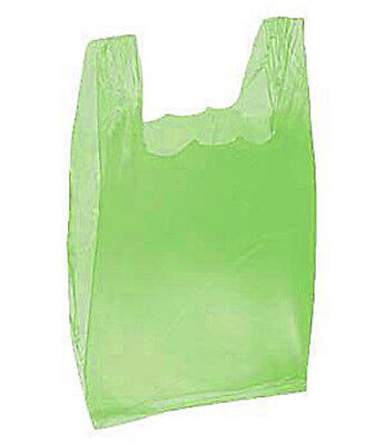 2000 Bags New Retail Small Lime Green Plastic T-Shirt Bags 8