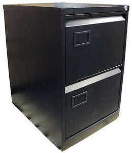 RS Pro 2 Drawer Home Office Foolscap Filing Cabinet with Key Black, GM-206