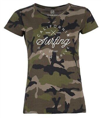 Damen Camo-Shirt California Surfing Ocean Drive Summer Camouflage T-Shirt