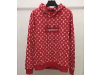 Supreme and Louis Vuitton red monogram hoodie