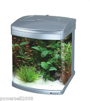 MT-405 43L Glass Enclosed Small Ecological Gifts Aquarium/Fish Tank Silver &$