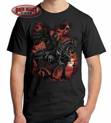 DEATH RIDER T-SHIRT Biker Tee ~ Winged Grim Reaper & War Horse ~ Celtic Cross](Grim Reaper Wings)