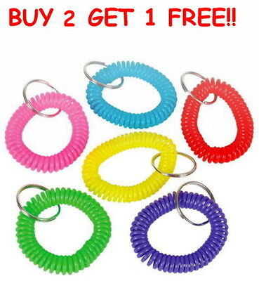 LOT OF 12 SPIRAL KEYCHAINS KEY CHAIN WRIST COIL CHAINS ELASTIC FREE - Coil Key Chain