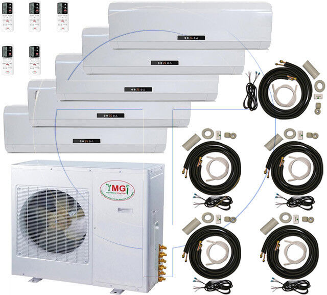 5 Ton Quint Zone Ductless Split Air Conditioner 60000 Btu: 12000 X 5, Sanyo Comp