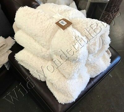 """Pottery Barn Faux Sheepskin Throw Ivory 60x80"""" Oversized Accent Very Soft New"""