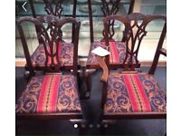Four solid mahogany antique chairs