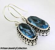 Blue Topaz 925 Sterling Silver Earrings