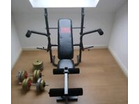 Pro power weights bench, pecs and legs, plus two dumbbells