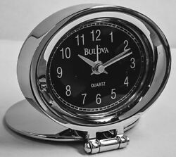 BULOVA - SMALL TRAVEL CHROME ALARM CLOCK - ADAMO B6842 - NEW - FREE SHIPPING USA