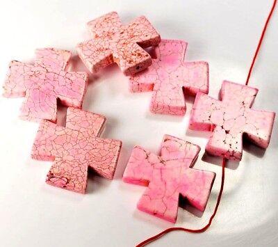 Pink Magnesite Turquoise Cross Spacer Loose 40mm Bead 6 pcs(TU384)e DIY Jewelry -