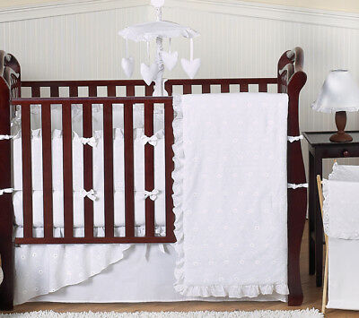 White Eyelet Collection Baby Crib Comforter Bedding Set for a Newborn Girl Room
