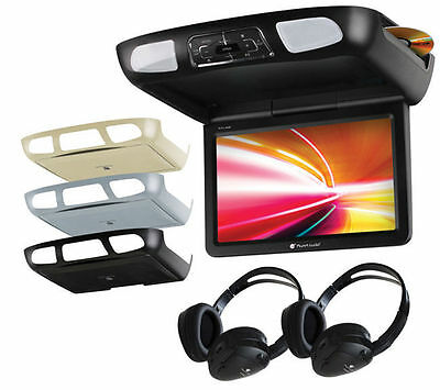 "PLANET AUDIO 11.2"" TFT CAR MONITOR OVERHEAD CEILING DVD USB PLAYER 2 HEADPHONES"