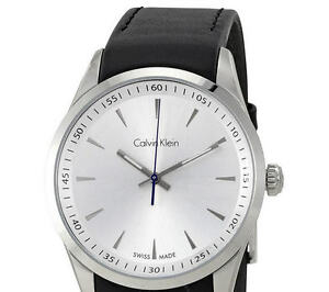 Swiss Made. Calvin Klein Bold White Dial Mens Leather Watch K5A3