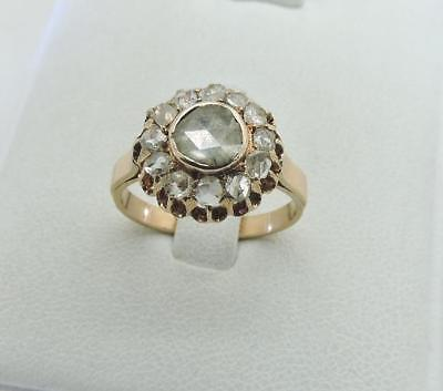 ANTIQUE 14K Yellow Gold Old Fashion Cut 1.00 Ct Diamond Ring Vintage Size 7