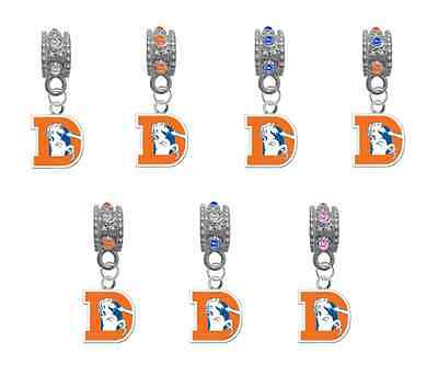Denver Broncos RETRO Football European Rhinestone Charm Bracelet Necklace Bead](Football Bead Necklace)