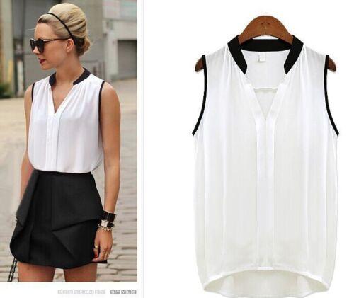 $0.99 - Fashion Women Summer V-neck Loose Sleeveless Casual Tank T-Shirt Blouse Top