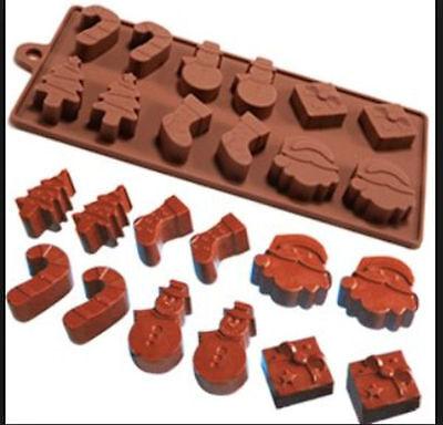 Christmas Assortment 12 cavity Silicone Mold for Fondant, GP, Chocolate, Crafts