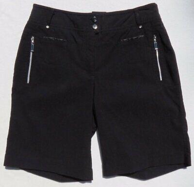JAMIE SADOCK Black Stretch Rayon Nylon LION Golf Long Shorts size XS 2 #21313