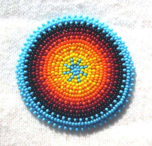 "Beaded Rosette  2.5"" diameter Radiant Sun  Design New Regalia 005"