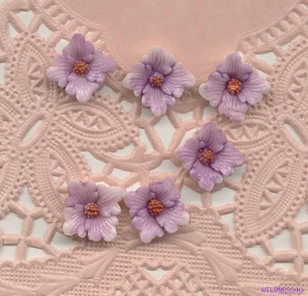 10 VINTAGE PLASTIC LILAC Lavender Cabochon FLOWERS JAPAN CABS EARRING FINDINGS