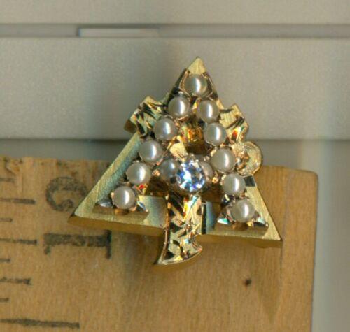 Alpha Gamma Delta sorority frat gold pearl diamond pin + bonus! Cincinnati  WoW!