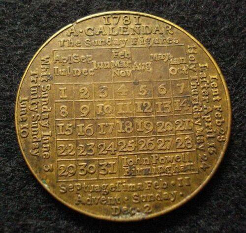 1781 American Revolution Period Calendar Medal RARE BRITISH