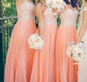 Coral Peach Gown w Lace! Paid $899 USA