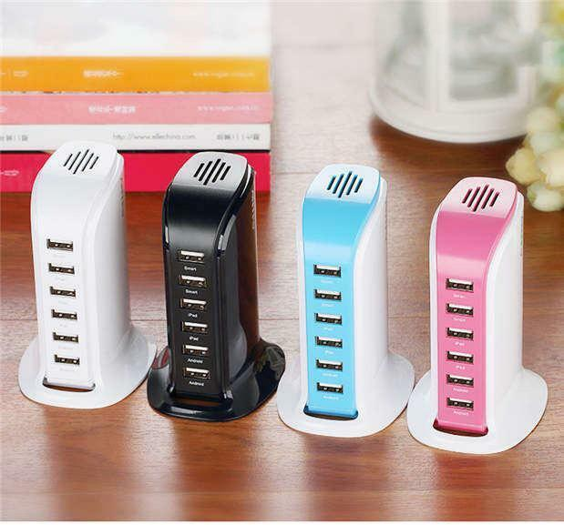 Multi 6 USB Port Desktop Charger Rapid Tower Charging Station Power Adapter 30W Cell Phone Accessories