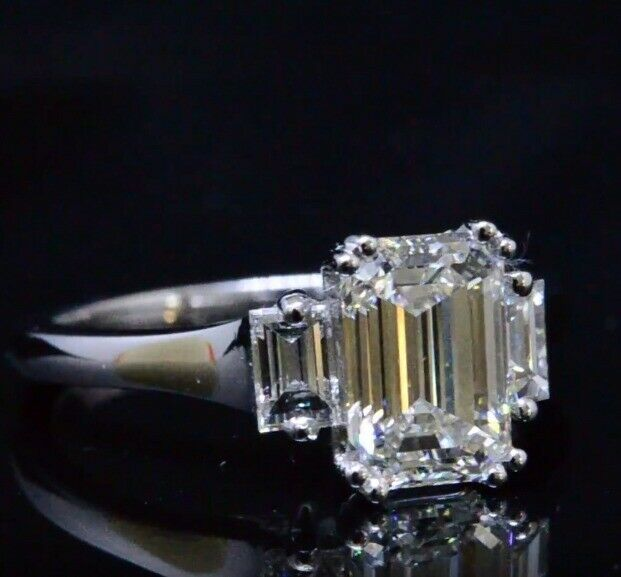 2.60 Ct Emerald Cut Three Stone w/ Baguette Diamond Engagement Ring H,VS1 GIA