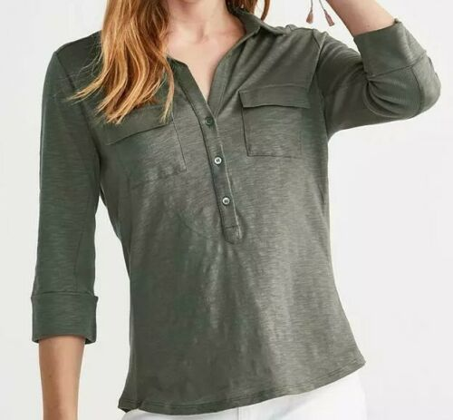 The White Company Half Placket Cotton Jersey 3/4 Length Sleeve Shirt – Sage US 6 Clothing, Shoes & Accessories