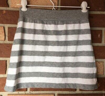 Gap Kids Girls 10 Gray White Striped Jersey Knit Skirt Ribbed -