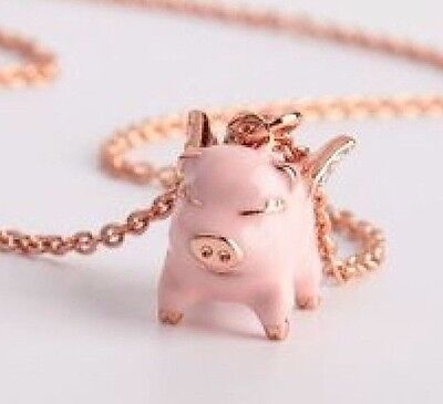 Pig necklaceebay 1 new kate spade pink multi imagination flying pig pendant necklace wks dust bag mozeypictures Gallery