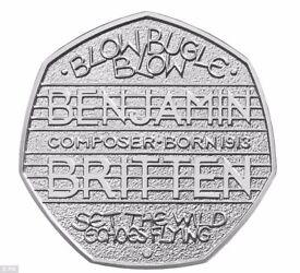 Very Rare Benjamin Britten 50p Coin